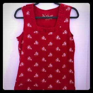 Unique bicycle print red tank top size M